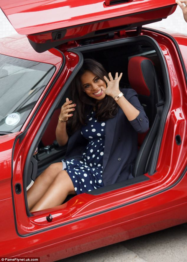 Tricky: Rochelle Humes struggled to get into Marvin's flash sports car after appearing on Loose Women on Thursday