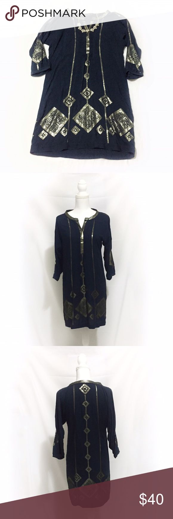 Massimo Dutti | Navy Sequin Shirt Dress | Size: M Massimo Dutti | Navy Sequin Shirt Dress | Size: Medium | Great Condition | Fits Loosely | No Wear or Damage | Pet/Smoke Free Home | Cotton Blend | See Photos for Measurements Massimo Dutti Dresses Long Sleeve