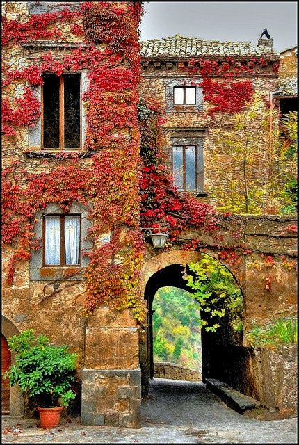 Villa in Autumn - Bagnoregio, Italy - love the red color of the ivy
