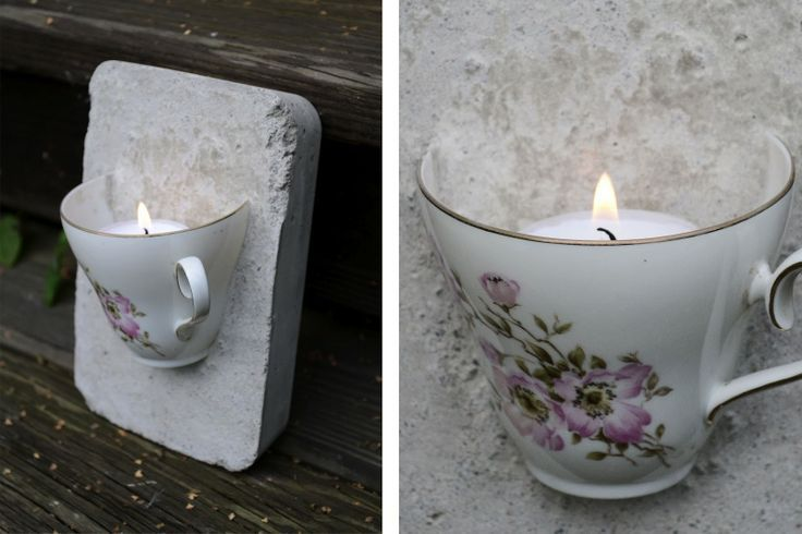 concrete teacup sconse for an outside patio.  Hang on your siding for an intimate look.