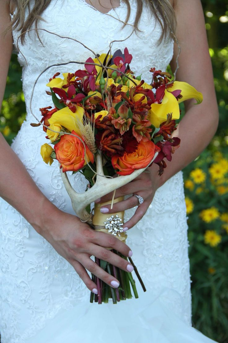 Chrystal Schilz's wedding Hunting bouquet wedding flowers with antler no camo (August) Fall Wedding!  rustic country wedding!