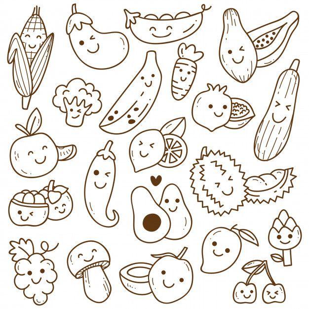 Set Of Kawaii Fruit And Vegetables Doodle Cute Doodle Art Kawaii Fruit Kawaii Doodles