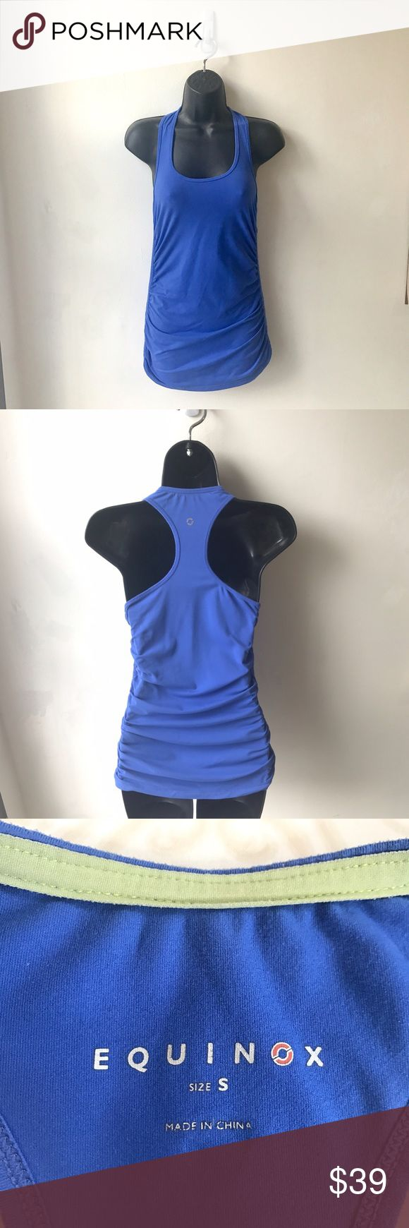Equinox Racerback Work Out/Athletic Tank Top Blue Super comfy & cute workout/athletic racerback tank by Equinox featuring ruched sides in a gorgeous royal blue, size small. This is from Equinox gym's own clothing brand sold exclusively at specific gym location stores. Fits comfortably without being too tight/spandex like while wearing-could fit XS-M. Material:91% nylon, 5% spandex.Durable stretch with a lightweight cotton feel material - perfect to add to your gym outfit rotation ❤️ have…
