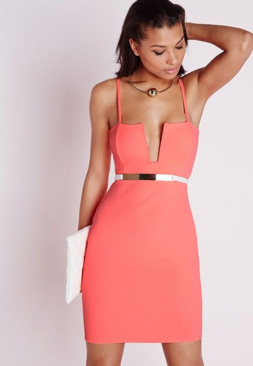Strappy Square Neck Bodycon Dress Neon Coral - Dresses - Bodycon Dresses - Missguided