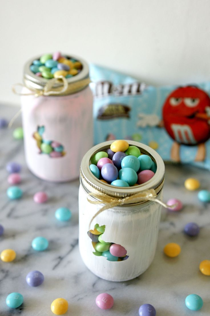 Easter Decor ideas  [ad] Check out M&M's Vanilla Cupcake, only at Target this Easter season! They look so cute peeking out painted mason jars. (Save on your favorite treats with the Cartwheel app!)