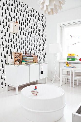 black and white nursery.: White Nurseries, Black And White, Child Rooms, Black White, White Rooms, White Bedrooms, Trees, White Wall, Kids Rooms