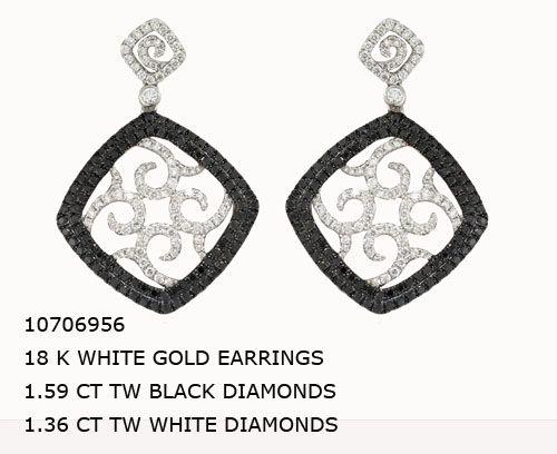 10706956 18 K WHITE GOLD EARRINGS 1.59 CT TW BLACK DIAMONDS 1.36 CT TW WHITE DIAMONDS