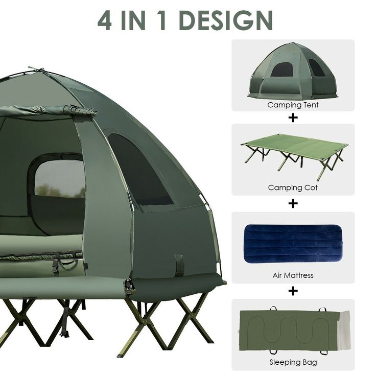 Gymax 2 Person Compact Portable Pop Up Tent Camping Cot W Air Mattress Sleeping Bag Walmart Com Tent Cot Tent Camping Cot