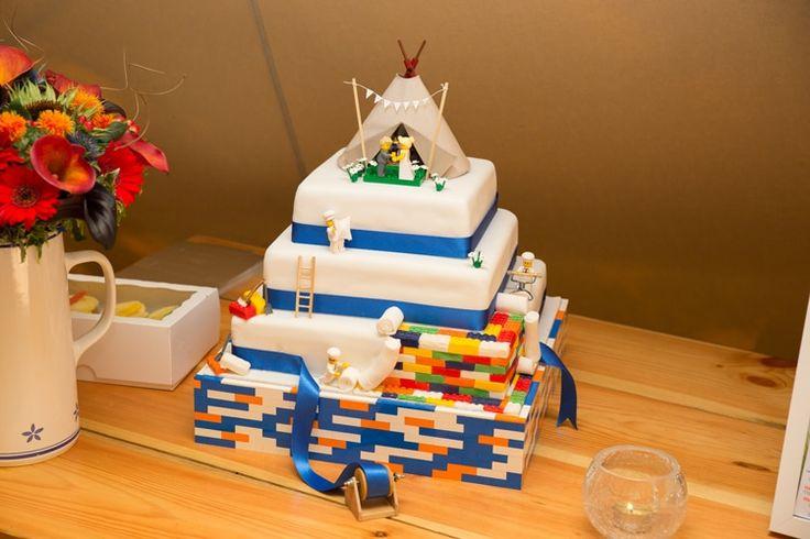 Lego Cake Orange Blue Festival Fete Tipi Wedding http://www.lynseygracephotography.com/