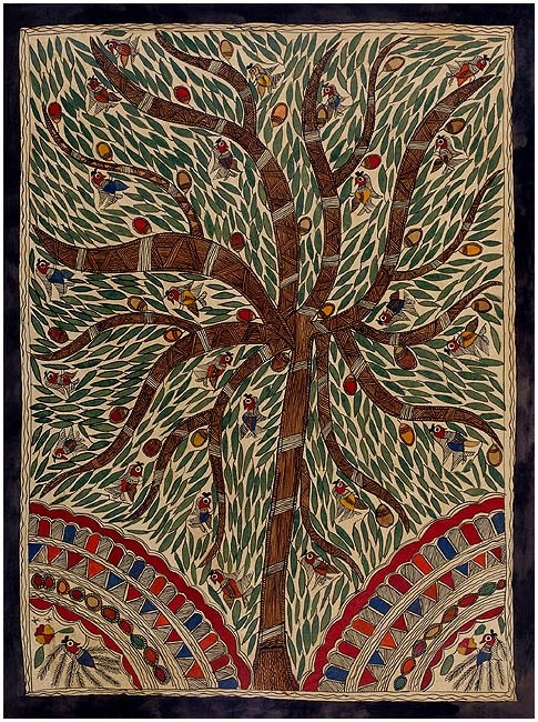 Madhubani painting, rejoicing birds