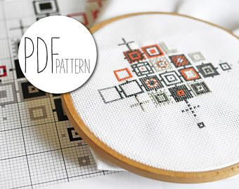 Bordado, punto de cruz patrón geométrico moderno moderno abstracto Cosedora bordado patrón cuenta imagen contando las instrucciones plantilla del bordado CUBIFIED