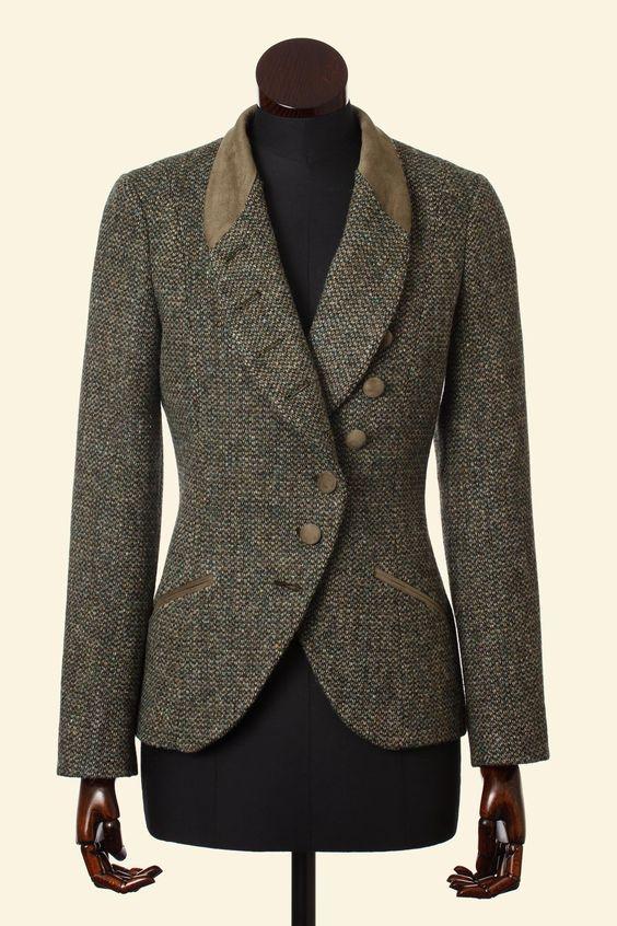 Green Barley Corn Harris Tweed Emma Jacket - Tweed Jackets - Clothing - Women Walker Slater Tweed Specialists: