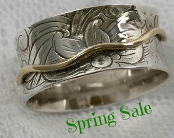 Spinner ring. Sterling silver gold spinner ring. floral spinner ring. Wide spinner ring. Curvy spinner ring. (gsr-7066).