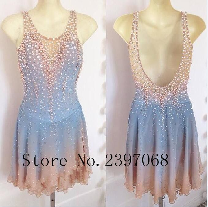 Ice Skating Dresses Blue Children Ice Skating Dress Custom Ice Skating Clothes  Women Competition Skating  Clothing B332 #Affiliate