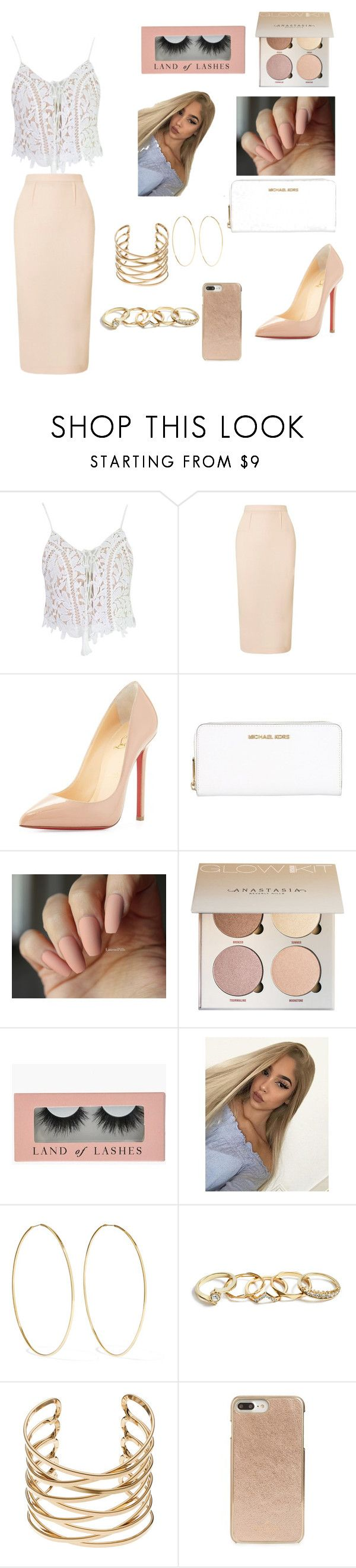 """""""Nude days"""" by emily-bielefeld ❤ liked on Polyvore featuring WithChic, Roland Mouret, Christian Louboutin, MICHAEL Michael Kors, Magda Butrym, GUESS and Kate Spade"""
