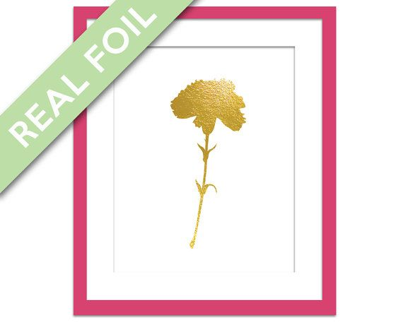 Finns några olika, bra kontrast med riktig folie? A lovely and sparkly carnation art print, made with real foil. ✿ Ordering...    ** You can choose from three different foil colours: gold, silver