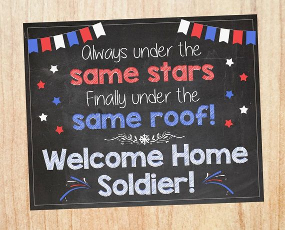 Celebrating a deployment homecoming? Welcome them home with this personalized chalkboard sign. TO ORDER: 1. Select your preferred size 2. In the order details, list the following: -Who you are welcoming home (ex, Soldier, Daddy, Sgt. Martin, etc) -Email to send final print or proof
