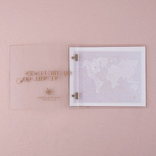 Vintage Travel Personalized Wedding Guest Book with Clear Acrylic Cover - The Knot Shop