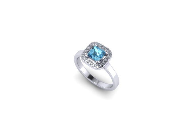 Colour Collection - Blue Topaz, diamond and White Gold Ring