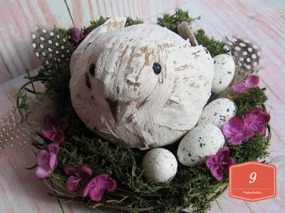ProjectGallias: #projectgallias, Easter decoration, nest with bird and eggs. Wiosenno-wielkanocna dekoracja, gniazdko z ptaszkiem i jajkami.