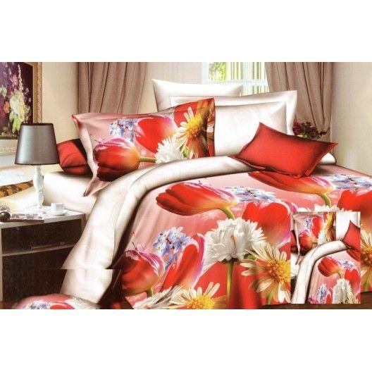 Bielo červené posteľné obliečky s červeným tulipánom