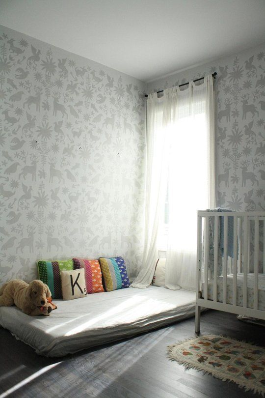 Kai's Otomi Stencilled Room - currently for one baby using the cot but with a room this simple could also work for two little ones - one in the cot and one in the floor bed.