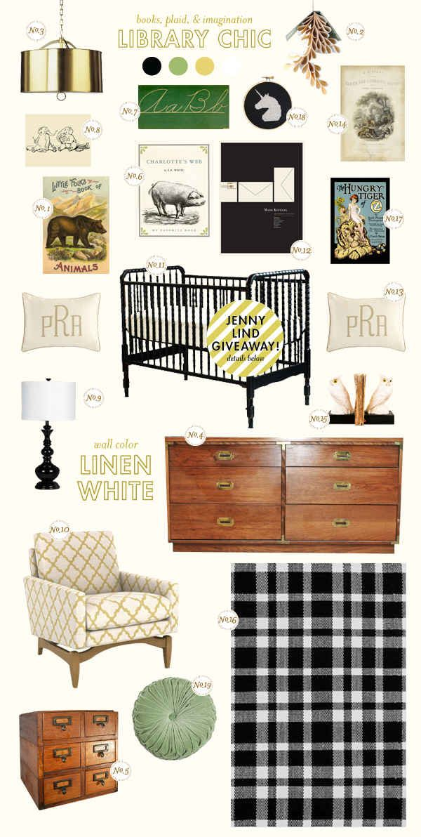 Library Chic Nursery Inspiration Jenny Lind in black with campaign furniture touches