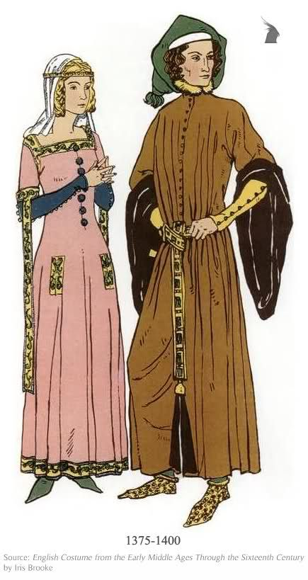 14th Century- Low neckline and formfitting dress was the man style for that of a woman during this time.Two gowns are worn over each other and the sleeves are close fitting.