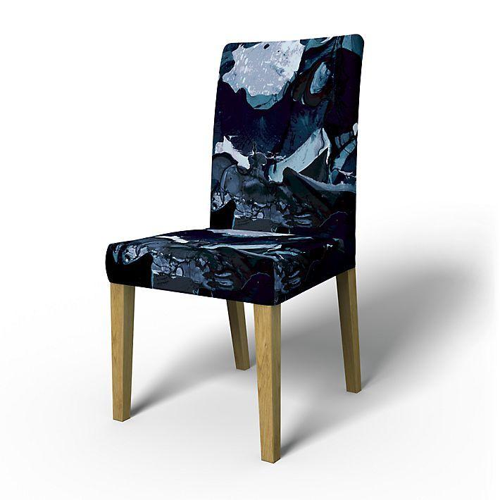 Henriksdal, Chair Covers, Chairs, Regular Fit using the fabric För att Himlen är Blå  Deep Navy Blue