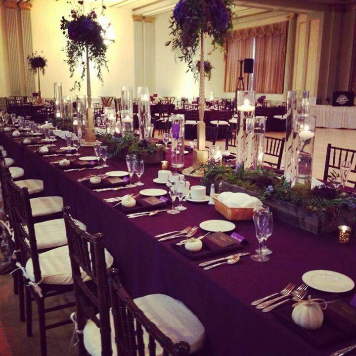 Silver Wedding Decoration: Eggplant And Silver Wedding Decor