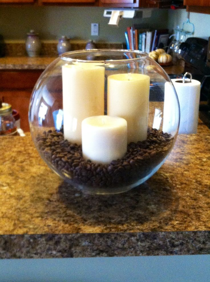 candles and coffee beans display looking for something to do with stale coffee beans make this coffee candle decor i would add red candles to match - Themes For Kitchens Decor