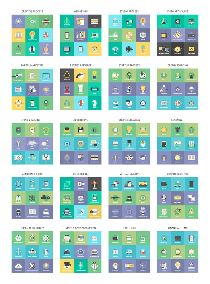 Flatty Icons 2 in 1 Collection by Bloomua on Creative Market