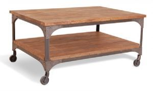Harlem Industrial Coffee Table on Wheels