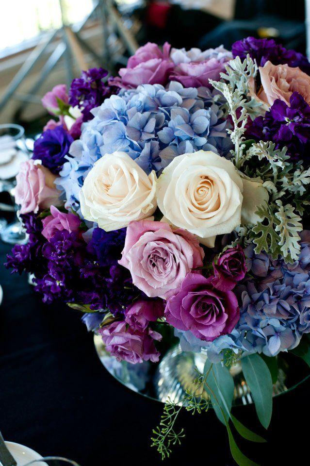Purple lavender blue low centerpiece wedding ideas
