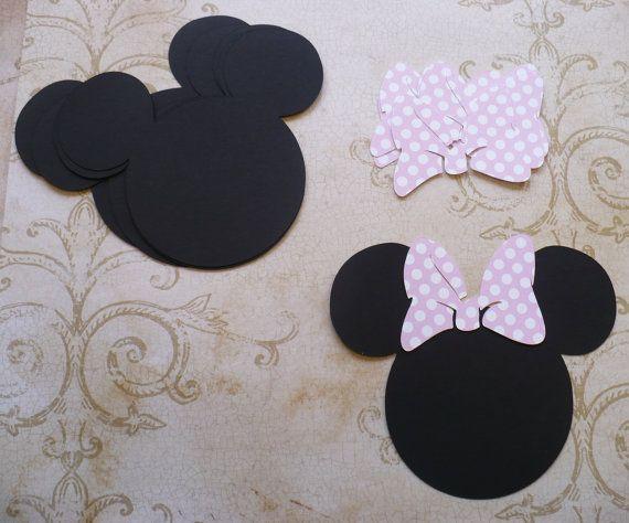 6 Minnie Mouse cabeza formas con grandes lunares luz rosa