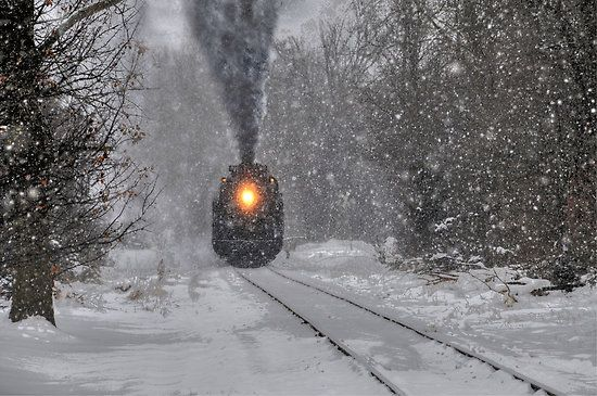 Pere Marquette #1225   steam locomotive Winter, Lima, Ohio. Reminds me of the Polar Express movie. Lima fits that well by climate. At least one heavy snow per year.