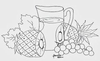 desenho de jarra com abacaxi e uvas