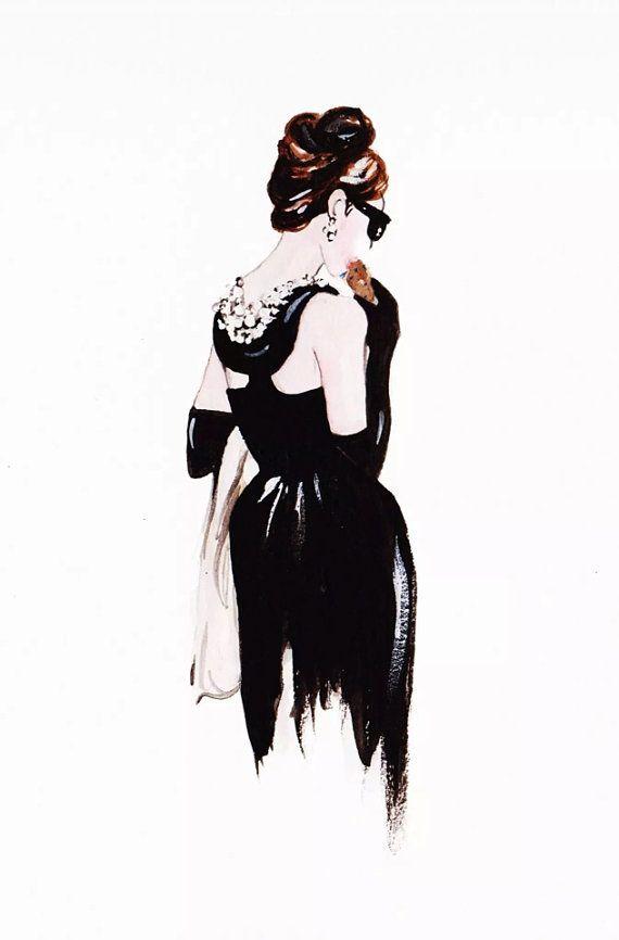 Desayuno en Audrey Hepburn grabado de ilustración de moda Tiffany en