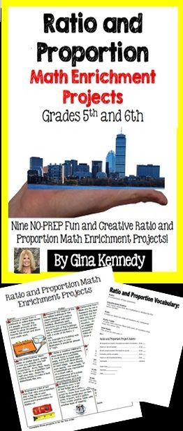 This product includes nine creative and fun ratio and proportion math enrichment projects that will take this concept to an entirely new level. From developing ratios from a long journey across a state to determining the proportion of large land mammals, your students will love taking part in these NO-PREP math enrichment projects.  Great for advanced math learners, early finisher or whole class fun.$