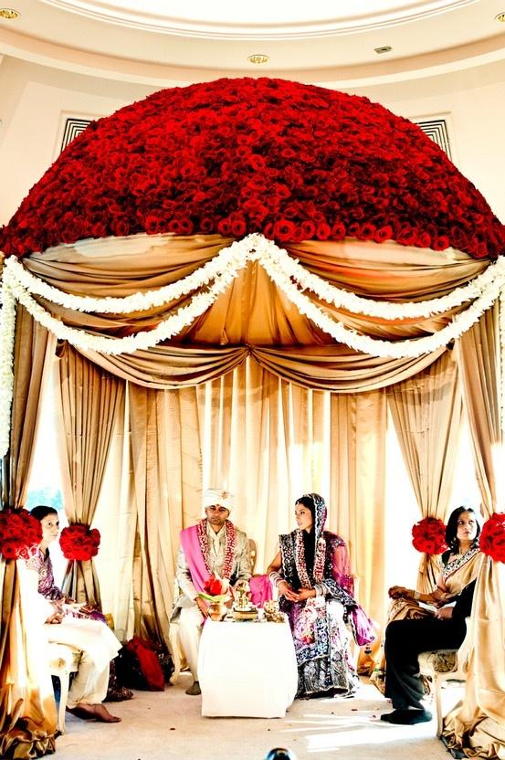 Round Mandap Red Flowered Mandap Indian Wedding Decor Indian Mandap Indian Wedding