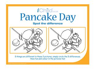 This pancake Day spot the difference activity will keep your child busy, plus the pictures can be coloured in too! Can your child spot them all?