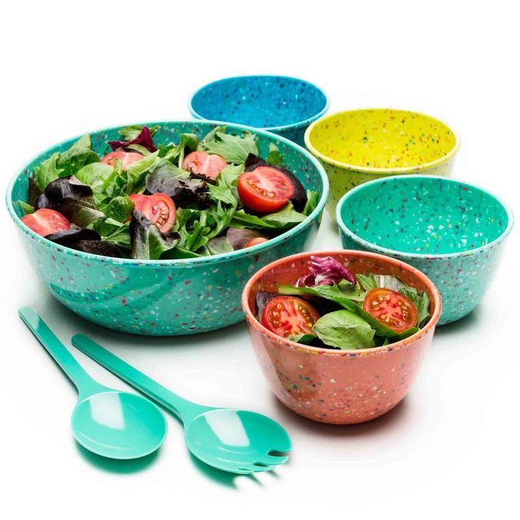 College Dorm Room Dinnerware 7-Piece Salad,Soup Bowls with Serving Utensils  #Dinnerware