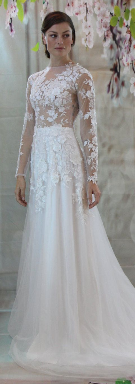 Lace and Tulle Wedding Dress #weddingdresses
