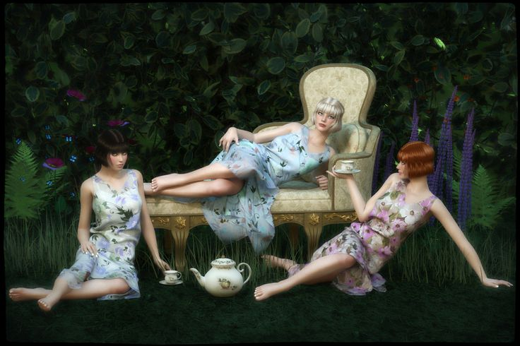 Tea in the Garden - Promo for FRQ Dynamics: 1920s Dress by Frequency // #20s #1920s #tea #garden #ladies #renderosity #3d #dynamicclothing #dynamiccloth #poserpro #dynamic #frequency3d #frequency