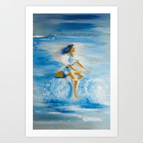 Sea cycling www.artoutloop.com #bicycle, #art, #paiting, #water, #girl, #oli