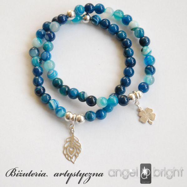 BRASNOLETKI BŁĘKITNY AGAT- SREBRO-CHARMS   www.angelbright.pl