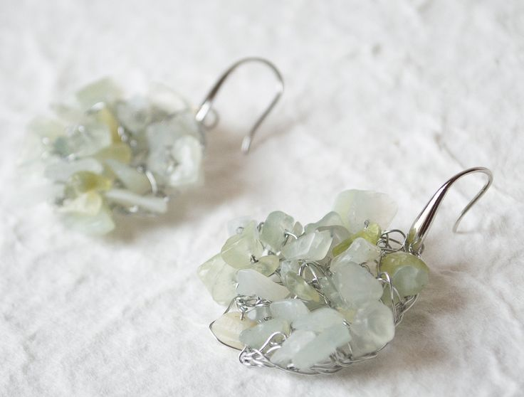 Handmade wire crochet earrings. Silver wire earrings Dangle crochet  Green Aventurine Beads Gemstone earrings  Knitted earrings by UnikacreazioniShop on Etsy