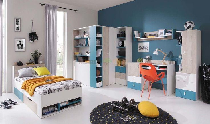 Komplet mebli do pokoju młodzieżowego Planet B biały lux + dąb + morski z łóżkiem - Meblar - sklep meblowy Meble BIK