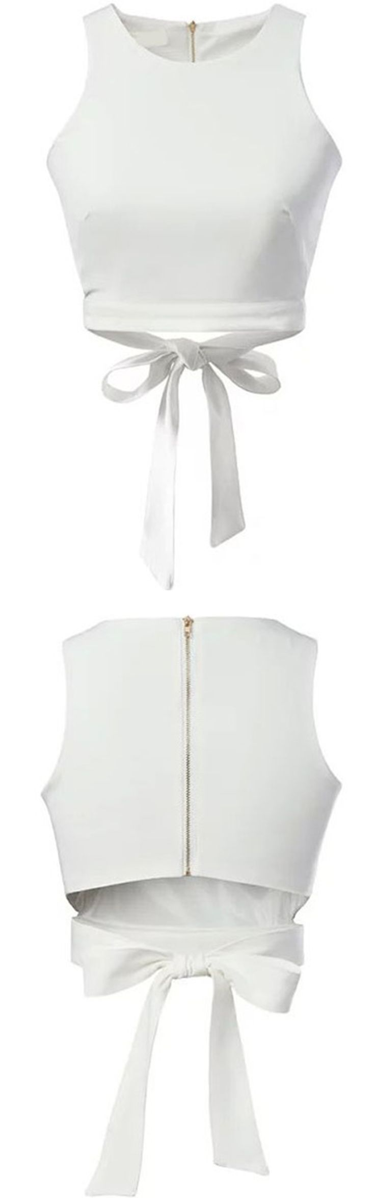 White Zipper Hollow Bow Tank Top