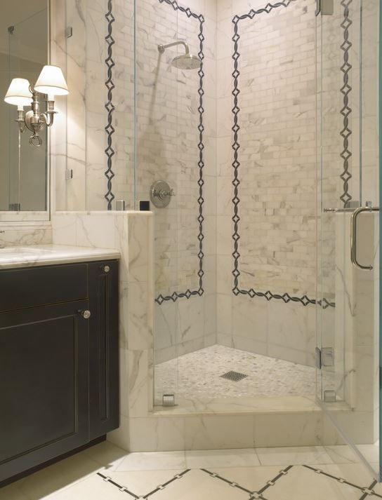corner shower with pony walls